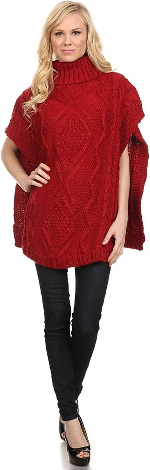 ICONOFLASH Women's Heavy Weight Cable Knit Sweater Poncho