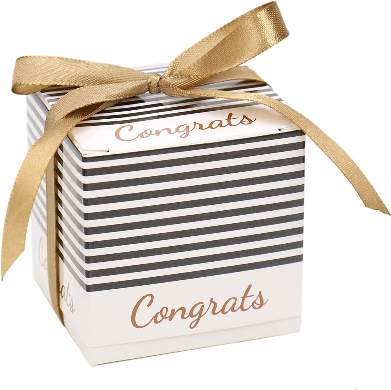 JETEHO Pack of 20 Candy Boxes Gift Boxes Sweet Boxes with Ribbons for Graduation Ceremony Party Favors, 2.4 X2.4 X2.2