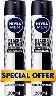 NIVEA MEN Black & White Invisible Original, Antiperspirant for Men, Spray, 200ml-(Pack of 2)