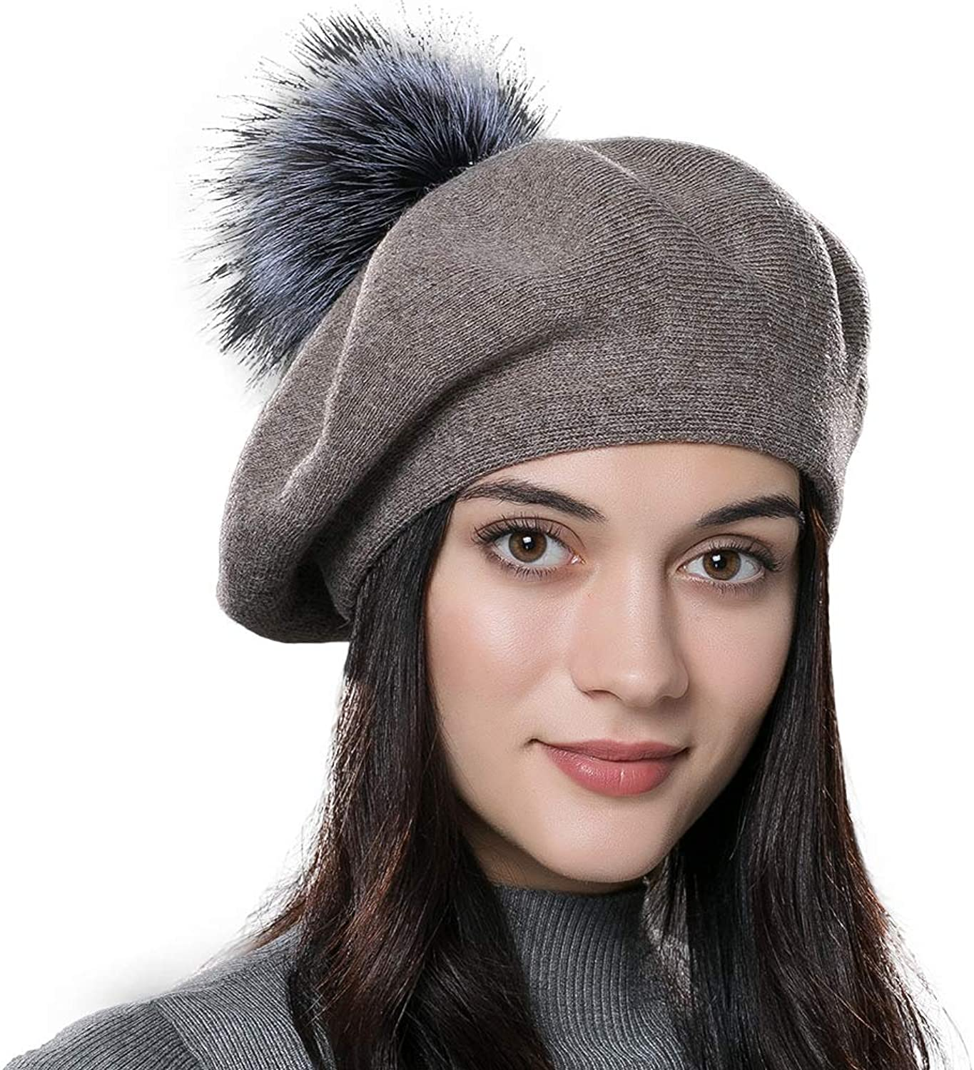 ENJOYFUR Women Winter French Beret Hats Real Fur Pom Pom Wool Warm Berets Soft Lightweight Casual Hat