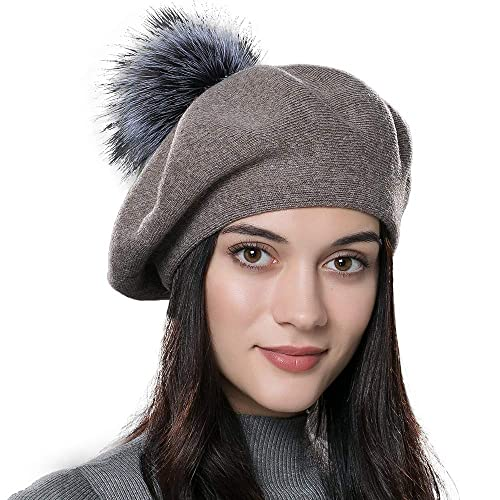 Women Winter French Beret Hats Real Fur Pom Pom Wool Warm Berets Soft  Lightweight Casual Hat e0699afa8588