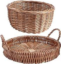 TOPBATHY Rattan Bread Basket Fruit Baskets Woven Storage Basket Wicker Bread Box Rattan Tray For Serving Snack Bread Key H...