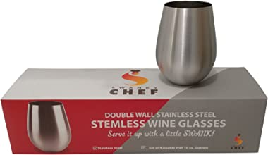 Swanky Chef Stainless Steel Stemless Wine Glasses Set of 4-Vacuum Insulated, Double Walled Tumblers-Keeps Hot and Cold Drinks