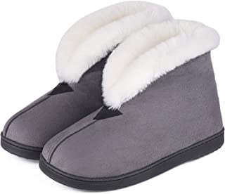 MERRIMAC Women's Comfort Suede Memory Foam Bootie Slippers Faux Fur Lined Indoor Outdoor House Shoes w/Anti-Skid Rubber Sole