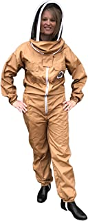 Honey Bee Safe Beekeepers Suit 100% Cotton Full Body Beekeeping Coverall for Women in Mocha with Detachable Hooded Veil and Supple Leather Gloves (XXXLarge)