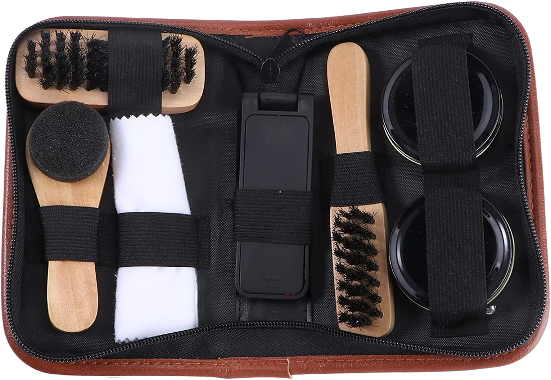 Holibanna 1 Juego de Herramientas de Limpieza de Zapatos de Cuero Juego de Cuidado de Zapatos de Limpieza Pulido Juego de Cepillos Completos Juego de Suministros de Lavado para Zapatos de