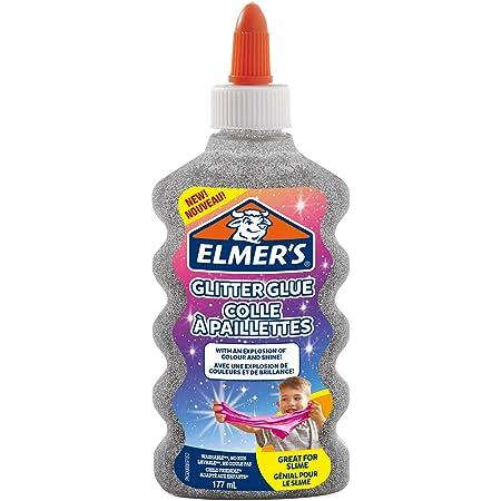 Elmer's Colla Vinilica Glitterata, Lavabile e Adatta ai Bambini, Ottima per Realizzare Slime, Grigio (Argento), 1 Pezzo