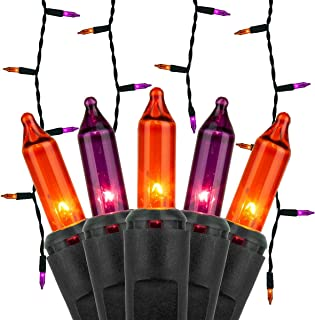 Kringle Traditions 8.5 ft 150 Purple/Orange Icicle Lights - Black Wire, Indoor/Outdoor Halloween Lights