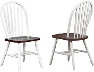 Sunset Trading Andrews Dining Chair, Distressed antique white with chestnut seat