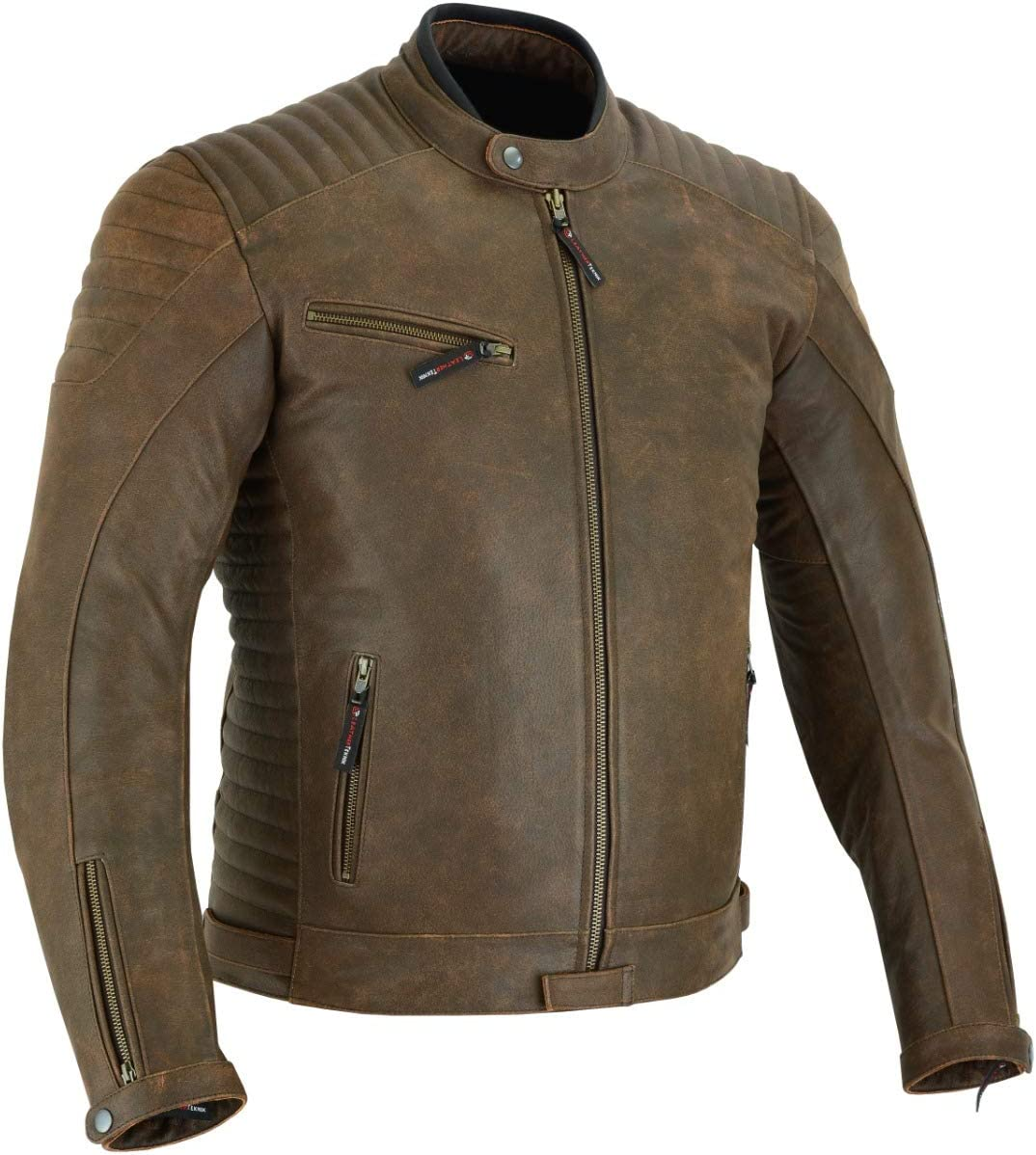 MOTORCYCLE LEATHER JACKET FOR MEN WITH ARMOR BIKERS RIDING PROTECTIVE ARMORED VINTAGE DISTRESSED JACKET BROWN DL-2812A M