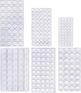 Outus 254 Pieces Clear Rubber Feet Bumper Pads Adhesive Transparent Buffer Pads Cabinet Door Bumpers Self Stick Noise Dampening Pads, 6 Sizes