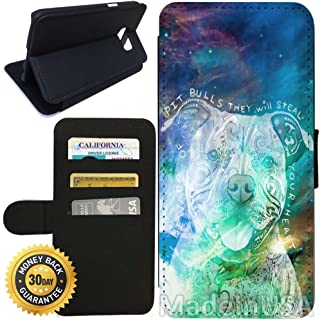 Flip Wallet Case for Galaxy S7 (Beware of Pit Bulls) with Adjustable Stand and 3 Card Holders | Shock Protection | Lightweight | Includes Stylus Pen by Innosub