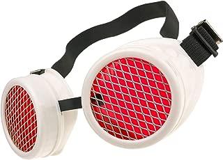 Gafas de Sol Welding Cyber Goggles Steampunk Goth Cosplay Sunglasses Round Glasses Party Fancy Dress MFAZ Morefaz Ltd (White Grid)