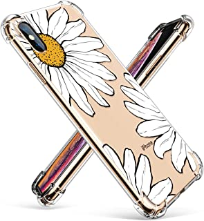 GVIEWIN Compatible for iPhone Xs/X Case, Clear Flower Pattern Design Soft & Flexible TPU Ultra-Thin Shockproof Transparent Girls Women Floral Cover, Cases iPhone X/iPhone 10 (Sunflowers/White)