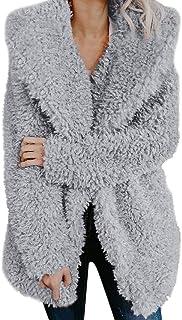 Tayaho Cappotto Manica Lunga Donna Inverno Soprabito Calda Cardigan Cappotti Peloso Outerwear Puro Colore Giacca Allentato Classico