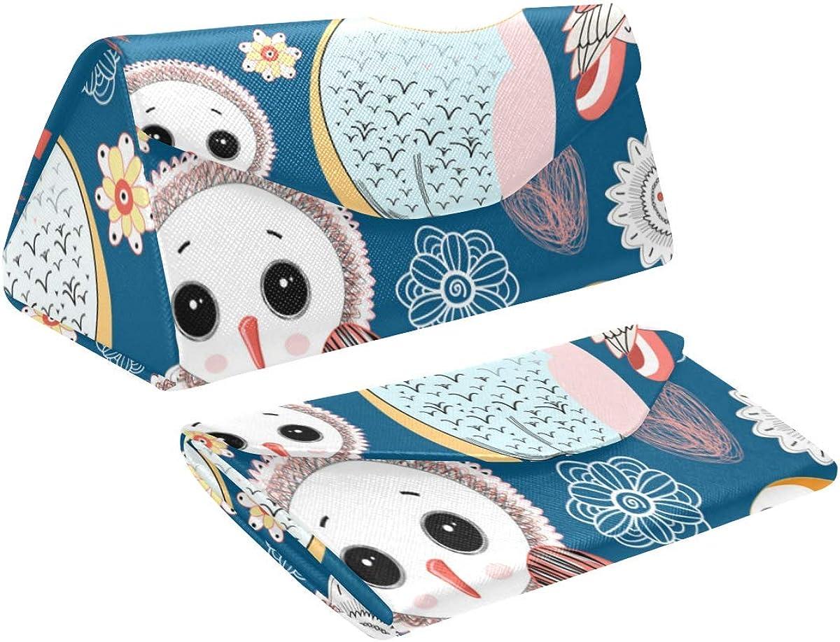 Glasses Case Cute Owls Dark Blue Eyeglass Case Leather Magnetic Folding Hard Case Sunglasses Eyewear Protective Case