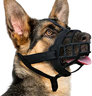 BARKLESS Dog Muzzle, Silicone Basket Muzzle for Small Medium Large Dogs, Soft Cage Muzzle Prevent Biting and Chewing, Allo...