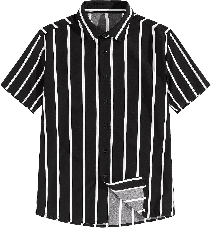 SOLY HUX Men's Striped Short Sleeve Shirt Button Down Summer Top