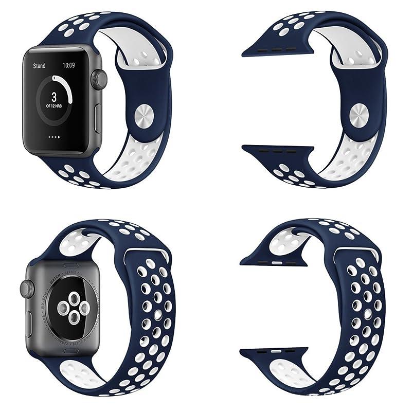 聡明死ぬバンカー万屋-JP(工場直販品質保証) Apple Watch スポーツバンド 全25色 Apple Watch Series 4 / 3 / 2 / 1 に向け改良版人気交換ベルト 38mm & 40mm & 42mm & 44mm 対応 改良版上等シリコン素材と金具 鮮やかなドゥブル色 ファッション交換ストラップ Apple Watch 全てシリーズ対応 L サイズ (Apple Watch 44mm, ブルー+白色)