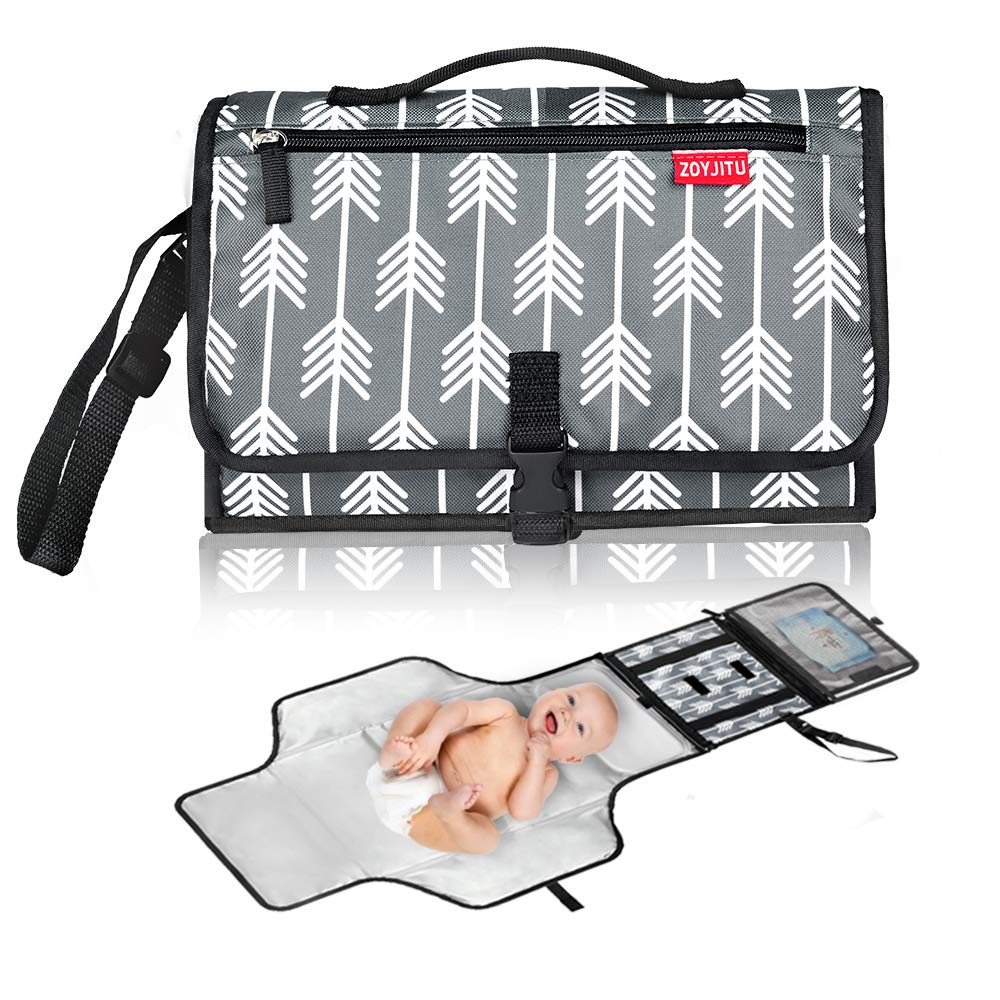 ZOUJITU Portable Diaper Changing Pad, Portable Changing pad for Newborn boy & Girl- Baby Changing Pad with Smart Wipes Pocket Baby Gift