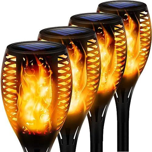 Llama Solar Luces 4 Paquetes Lámpara Antorcha Solares de Llamas Jardín Iluminación al Aire Libre para Patio, Césped, ...