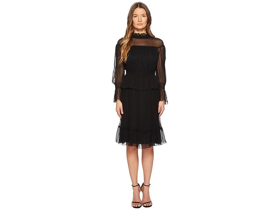 See by Chloe Silk Crepon Dress with Ruffles (Black) Women