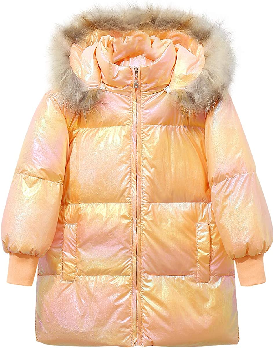Happy Cherry Winter Coats Lightweight Warm Soft Windproof Jacket With Hood Pockets for Kids Outerwear(110-150cm)