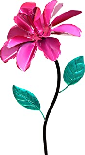 Exhart Pink Rose Wind Spinner Garden Stake - Single Rose Flower Spinner Hand Painted in Metallic Pink & Green Colors - Fade-Resistant Metal Rose Pinwheel - Kinetic Art Flower Décor, 8