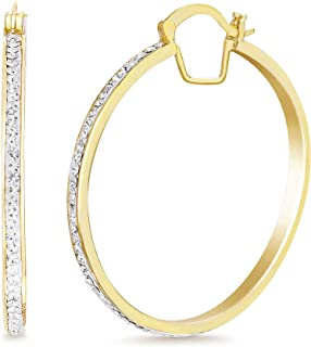 Devin Rose 40mm Hoop Earrings for Women made With Swarovski Crystals