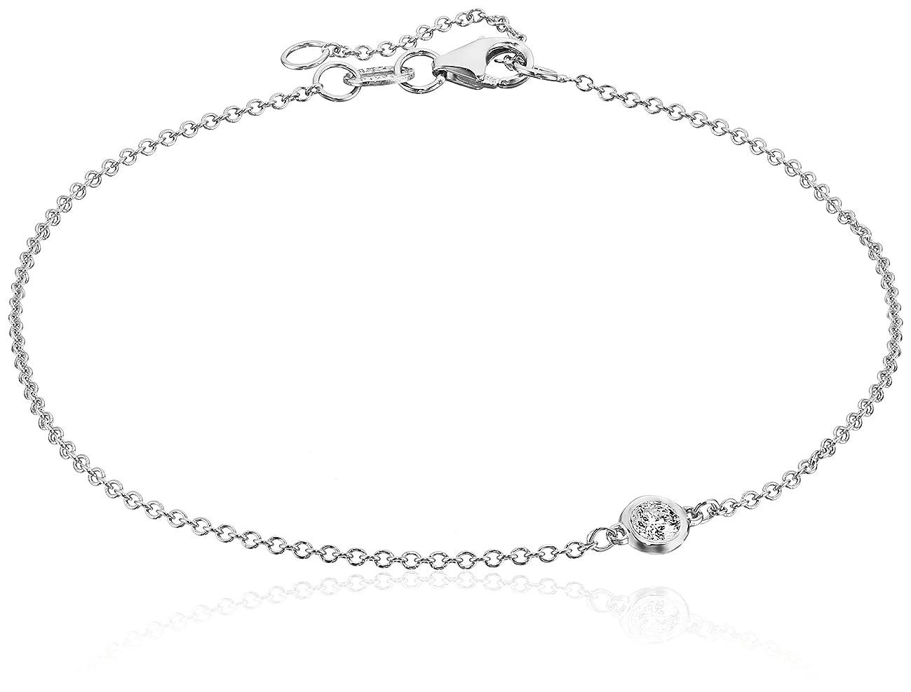 14k Gold Solitaire Bezel Set Diamond with Lobster Clasp Strand Bracelet (J-K Color, I2-I3 Clarity)