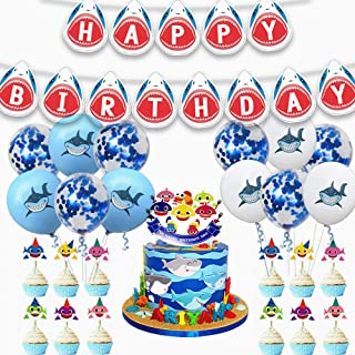 38 Pieces Shark Birthday Party Supplies,Shark Baby Party Decorations Set, Ocean Party Supplies,Shark Birthday Party Banner Cake Topper Balloons,Children Carnival Party Supplies Decorations
