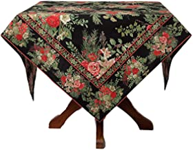 April Cornell Holiday Tablecloth Vibrant Floral on Black 100% Cotton 70 Round