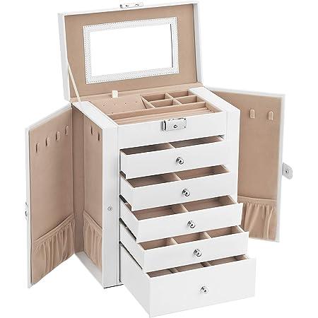 SONGMICS Boîte à bijoux, Coffre à bijoux, grand, 6 niveaux avec ailes, tiroirs, miroir et fermoir, pour bracelets, boucles d'oreilles, bagues, colliers, montres, Blanc JBC152W01