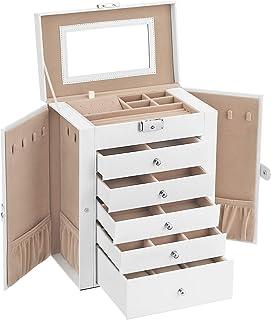 SONGMICS Boîte à Bijoux, Coffre à Bijoux, Grand, 6 Niveaux avec Ailes, tiroirs, Miroir et Fermoir, pour Bracelets, Boucles...