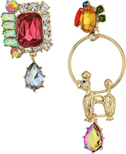 Betsey Johnson - Multi and Gold Dog Non-Matching Earrings
