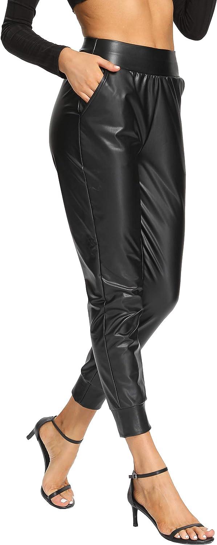 High Waist Drawstring Elastic Waist Winter Joggers Trousers V VOCNI Womens Faux Leather Jogger Pants
