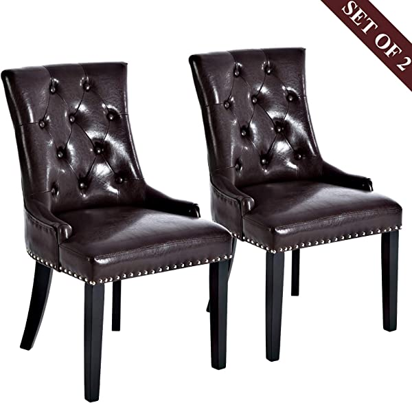 Leather Dining Chairs Upholstered Dining Chairs Modern Stylish Padded Dining Chairs With Silver Nailheads Solid Wooden Legs And Button Tufted Details Set Of 2 Brown