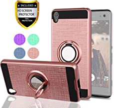 Xperia XA Case,with HD Phone Screen Protector,YmhxcY 360 Degree Rotating Ring & Bracket Dual Layer Resistant Back Cover for Xperia XA 5.0 Inch (2016)-ZH Rose Gold