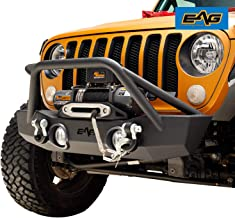 EAG Stubby Front Bumper with Fog Light Hole and Light Frame Fit for 18-19 Jeep Wrangler JL