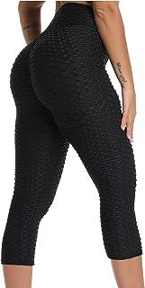 Mallas 3/4 Leggings Mujer Pantalones de Yoga Alta Cintura Elásticos y Transpirables