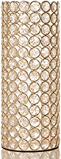VINCIGANT Gold Crystal Cylinder Flower Vase for Christmas Wedding Holiday Table Centerpieces