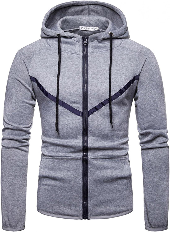Huangse Hoodie for Men Sport Hip Hop Drawstring Hooded Sweatshirt Casual Lightweight Jacket Full Zip Athletic Hoodies Tops