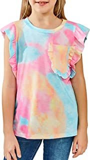 GRAPENT Girls' Summer Ruffle Sleeveless Shirt Tank Tops Tee Blouses 6-13 Years