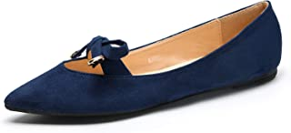 Mila Lady Anne Crease Pointed Toe Comfort Slip On Ballet Dress Flats Shoes for Women