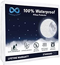 Everlasting Comfort 4-Pack Standard Size 100% Waterproof Pillow Protector - Hypoallergenic Pillow Covers - Breathable Membrane - Lifetime Replacement Guarantee