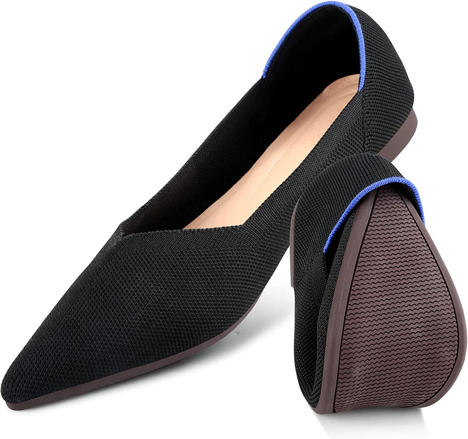 KUNWFNIX Women's Ballet Flats Foldable Loafer Comfort Knit Max 57% OFF Slip Indianapolis Mall