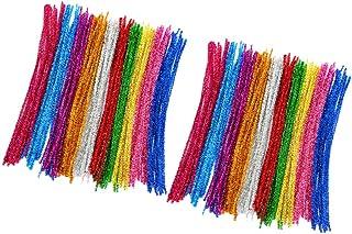 Toyvian 400Pcs Limpadores de Cachimbo Hastes de Chenille Coloridas Glitter Sparkle Chenille Hastes para Crianças Natal Diy...