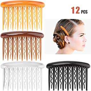 Hair Combs - Plastic Teeth Tortoise Side Comb Hair Accessories,Hair Combs for Women Girl Hair Clips,12 Pieces