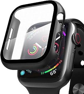 Compatible con Apple Watch 44mm Serie 6/SE/5/4 Funda+Cristal Templado, Qianyou PC Case y Vidrio Protector de Pantalla Inte...