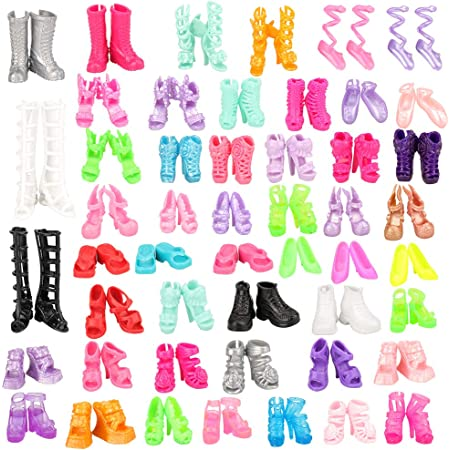 80pcs Mixed Different High Heel Shoes Boots for  Doll Dresses Clothes Y*JA